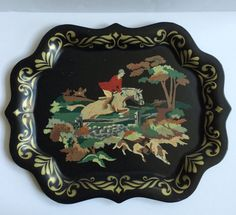 Vintage Black Painted Tole Tray with Hunt Scene by ShopTheHyphenate | Equestrian Chic