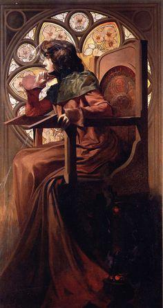 A. Mucha - Portrait of Sarah Bernhardt (oil on canvas 146 x 80 cm)