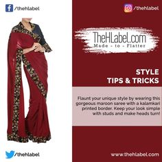 Look Stunning in this #Gorgeous Saree!  Sarees give you a perfect Indian appearance. Don this chic kalamkari-printed saree and #Style this with studs, a clutch and a pair of high heels!    #StyleTips #TheHLabel Maroon Saree, Printed Sarees, Looking Stunning, Studs, How To Make, How To Wear, High Heels, Indian, Chic