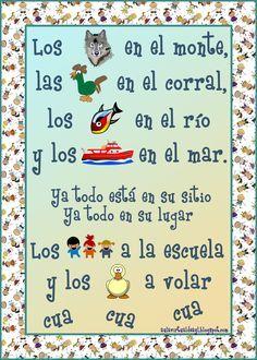 Aula virtual de audición y lenguaje: Poemas para la vuelta al cole Spanish Lessons For Kids, Spanish Teaching Resources, Spanish Teacher, Spanish Classroom, Primary School, Pre School, Flashcards For Kids, Poetry For Kids, Spanish Songs