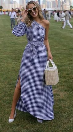 LOOKS FOR LESS: My Top 8 Most-Liked Looks, Recreated // Gingham one-shoulder asymmetric dress, straw bag + white block heel pumps {Rosetta Getty, Prada, Veuve Clicquot Polo Match} Mode Outfits, Dress Outfits, Fashion Dresses, Woman Dresses, Cute Dresses, Beautiful Dresses, Casual Dresses, Casual Clothes, Maxi Dresses