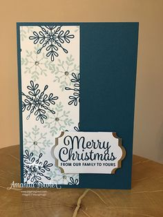 At this time of year a Quick Christmas card is exactly what we need! And this one is super quick. I have a tip to speed it up further for you and a great way to extend your punches. So here is the card, it's using the Snowflake Sentiments stamp set and th Stamped Christmas Cards, Simple Christmas Cards, Christmas Card Crafts, Homemade Christmas Cards, Printable Christmas Cards, Christmas Cards To Make, Christmas Greeting Cards, Homemade Cards, Holiday Cards