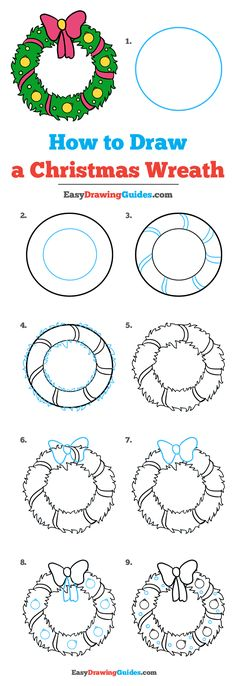 How to Draw a Christmas Wreath - Really Easy Drawing Tutorial
