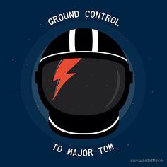 'Ground Control To Major Tom - David Bowie' Sticker by awkwardlittleco David Bowie Major Tom, David Bowie Art, David Bowie Blackstar, David Bowie Aladdin Sane, Blitz Tattoo, Machine Volante, Jaguar, David Bowie Tattoo, Halloween Jack