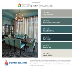 I found these colors with ColorSnap® Visualizer for iPhone by Sherwin-Williams: Gray Matters (SW 7066), Rookwood Sash Green (SW 2810), Deep Sea Dive (SW 7618), Dark Night (SW 6237), Raging Sea (SW 6474), Toque White (SW 7003).