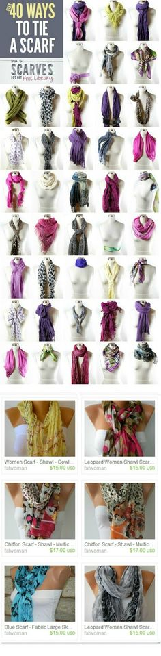 I sooooo need this! No clue but learning! 40 ways to tie a scarf. Scarf on ETSY . Ways To Tie Scarves, Ways To Wear A Scarf, How To Wear Scarves, Wearing Scarves, Fall Scarves, Men's Scarves, Mode Style, Style Me, Scarf Knots