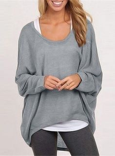 Grey Batwing Sleeve Loose Fit Knit Sweater cd431c63d
