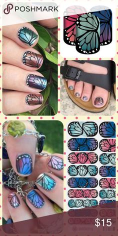 "JAMBERRY Multicolor Butterfly Manicure Nail Wraps ❤️ ❤️1 Full Sheet of Jamberry Vinyl Nail Wraps in the style ""Butterfly Bliss"" with a multicolor butterfly wing design. Metallic finish. Regular/ Adult size. Enough for up to 2 manicures + 2 pedicures + many accent nails. PRICE FIRM unless bundled. Need other colors? Please visit my Posh closet! ❤️❤️. Jamberry Other"