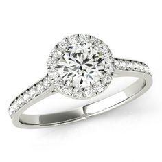 Forever One Moissanite & Diamond Halo Engagement Ring 14k White Gold, 5mm Moissanite Wedding Ring, Engagement Rings for Women, Diamond Rings