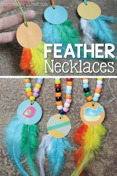 These feather necklaces are a fun fine motor activity for kids and are a perfect addition to a Thanksgiving, turkey, or bird themed lesson. The article also includes ideas for working on math concepts like counting, comparing quantities, and creating patt Thanksgiving Crafts For Kids, Fall Crafts, Holiday Crafts, Thanksgiving Turkey, Children's Arts And Crafts, Thanksgiving Activities For Preschool, Indian Arts And Crafts, Diy Crafts, Thanksgiving Desserts