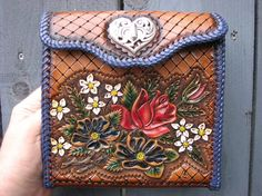 Hand tooled leather wallet