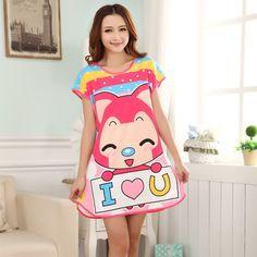 Camisón de verano pijamas de la historieta linda camiseta manga impreso seda de la leche Mujeres chándal