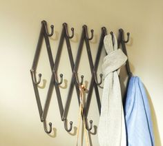 "Accordion Row of Hooks | Pottery Barn, 79.00, fully extended: 32.5""L x 2.5""D x 5.5""H"