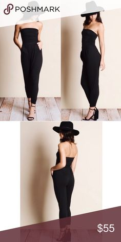 1S • 1M Left Off Shoulder Jumpsuit Black 😍 💕Weekend Wonderlust Host Pick💕  Absolutely gorgeous. Easy soft knit fabric, pull on style. Perfect from day to night. Trainers/sandals by day. Heels, jewelry & clutch by night. 95% rayon, 5% spandex. Model is wearing a small. S - 2/4, M - 6/8.                                              Bundle and save. 😍 Aluna Levi Pants Jumpsuits & Rompers