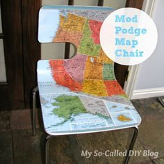 My So-Called DIY Blog: Mod Podge Map Chair