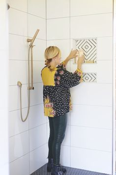 "Install a Shower Niche for added space and a stylish accent to large format tiles. Get the ""how-to"" and sourced materials. Floor Patterns, Tile Patterns, Bathroom Inspo, Master Bathroom, Niche Design, Large Format Tile, Shower Niche, Bath Tiles, Master Bath Remodel"