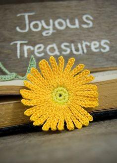 Handmade Crochet Bookmark Orange Aster Flower
