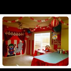 A thought for indoor! Circus Carnival Party, Circus Theme Party, Carnival Birthday Parties, Carnival Themes, Circus Birthday, Twin Birthday Parties, Baby First Birthday, Birthday Bash, Birthday Ideas