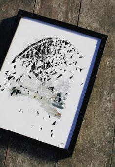 A missed chance to Wonderland, small print - Kunstner, Kunstmaler, Illustrator, Fotograf, Tina Louise Hunderup, Illustration, Collage, Arkitektur, Grafisk, : www.artunika.dk / www.artunika.com Digitalt Print.  Dette foto sælges som 1 ud af 5 stk. Det sælges med certifikat herpå.   En utopi er faldet og har mistet sin herlighed.  Værket er en del af en serie, der alle beskæftiger sig med forfald af forladte konstruktioner i gamle forlystel...