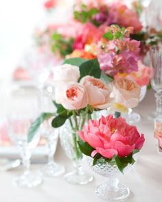 *flowers *table setting *spring *bright colours *beautiful *crystal