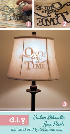Silhouette Lamp Shade - So cute! I'd love to do a Peter Pan/Stars/Tinkerbell shadow for the kids' rooms