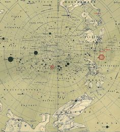 1912  South Sky Star Chart Antique Original Map Constellations