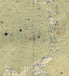 1912  South Sky Star Chart Antique Original Map Constellations