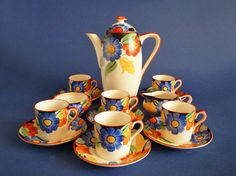 Susie Cooper Gray's Pottery Coffee Set - Floral Pattern 7913 c1930