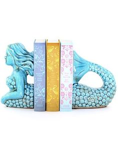 Ceramic mermaid bookend + Penguin classic books, detailsart, $58.00
