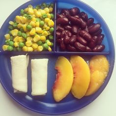 Lunch: corn, peas, kidney beans, rolled up turkey breast, and some peach slices.