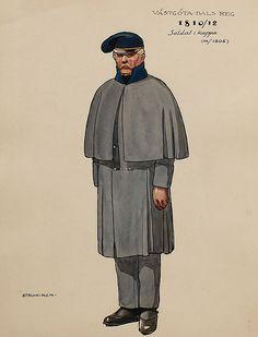 Soldier wearing a capote M/1806 and camp cap Västgöta-Dals regiment of foot 1810-18 by Einar von Strokirch