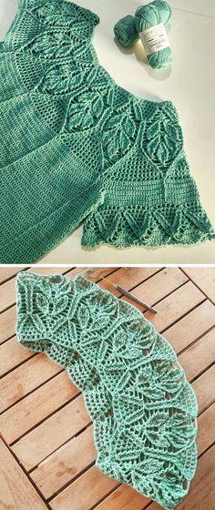 How to Crochet a Leaves Blouse – Design Peak - Kindermode T-shirt Au Crochet, Pull Crochet, Crochet Shirt, Crochet Woman, Learn To Crochet, Crochet Stitches, Crochet Things, Sleeve Designs, Blouse Designs