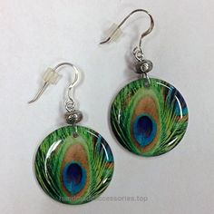 Peacock Feather Earrings on Sterling Silver Earwires  Check It Out Now     $7.49    Peacock Feather Earrings – This is my exclusive charm – I create the graphic of the peacock feather in rich jewel tone ..  http://www.handmadeaccessories.top/2017/03/26/peacock-feather-earrings-on-sterling-silver-earwires/