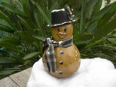 Hand Painted Gourd Snowman Christmas Winter Decor by NatsKreations, $24.95