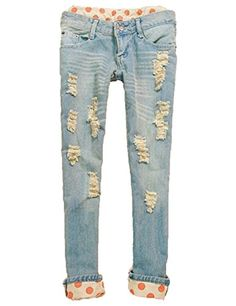 Women's Classical Vintage Side Bow Cutout Ripped Denim Jeans Leggings Trousers