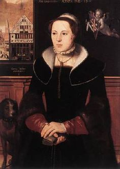POURBUS, Pieter (b. ca. 1523, Gouda, d. 1584, Brugge)   Click! Portrait of Jacquemyne Buuck  1551 Oil on oak panel, 97,5 x 71,2 cm Groeninge Museum, Bruges  The refined, full-face Portraits of Jan van Eyewerve and Jacquemyne Buuck, two wealthy Bruges citizens who had themselves painted on the occasion of their marriage, date from 1551. They are shown in their living room, which overlooks the city's famous Kraanplein