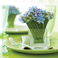 Brides: Small Blue Flower Centerpiece