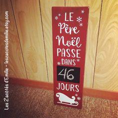 Pancarte rustique rouge, en bois rouge, décompte avant Noël