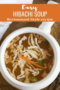 Hibachi soup- easy recipe made with crispy onion and broth. Learn how to make this with Instant Pot or stove top. Serve with noodles to make it wholesome dinner. A Chinese style healthy clear soup. Chinese Clear Soup Recipe, Hibachi Soup, Hibachi Grill, Clear Broth Soups, Crispy Onions, Homemade Soup, Healthy Soup Recipes, Asian, Kitchens