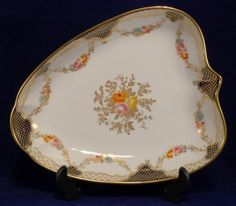 Rare Shell Shaped Wedgwood Dish with Gilt & Floral Swags & Center Pattern C.1900