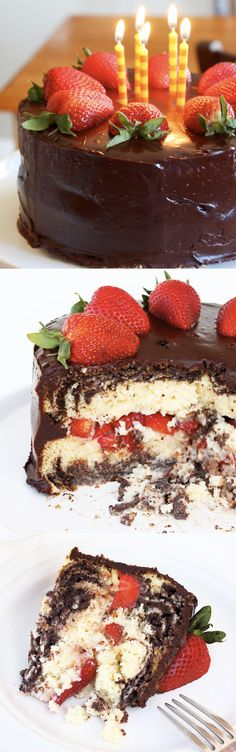 tres leches marble cake with strawberries and chocolate ganache