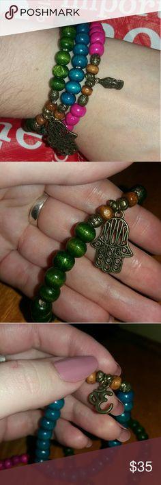 Wooden zen bracelets Stackable wooden beaded bracelets Lucky Brand Jewelry Bracelets