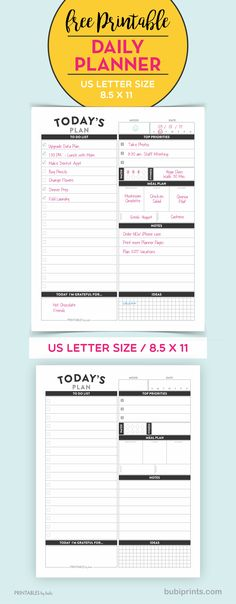 """Free Printable Daily Planner Insert - US Letter Size 8.5X11"""" PDF - Instant Download"""