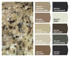 ColorSnap by Sherwin-Williams – Home - granite countertops Kitchen Paint Colors, Paint Colors For Home, Painting Kitchen Cabinets, House Colors, Brown Kitchen Paint, Tan Kitchen Walls, Brown Granite Countertops, Kitchen Countertops, Maple Kitchen Cabinets