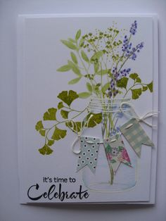 handmade card ... mason jar with field flowers  ... string of little banners on top ... sweet card!!
