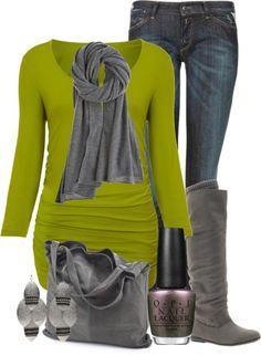 """Lime green & grey"" by ljjenness on Polyvore"
