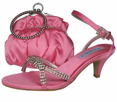 Theresa Low Heel Candy Pink Evening Sandals