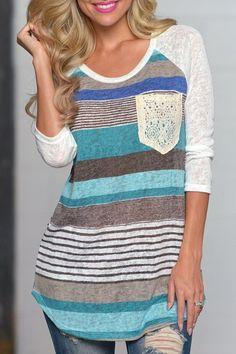 Trendy 3/4 Sleeve Striped Lace Spliced Irregular T-Shirt For Women