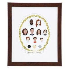 You can include anywhere between two and eighteen figures that can each be personalized by skin tones, hair and eye colors, and clothing/glasses, except for pets.Get one from Uncommon Goods for $75  (available unframed or with black or walnut frames).Check out the rest of the collection here!