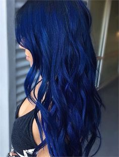 31 Blue Looks to Brighten Your Day - Hair Color - Modern Salon Royal Blue Hair, Dark Blue Hair, Dyed Hair Blue, Blonde And Blue Hair, Hair Color Shades, Hair Color Blue, Cool Hair Color, Indigo Hair Color, Hair Colours